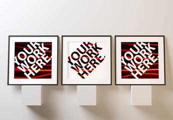 Three Square Posters on Ledges Mockup