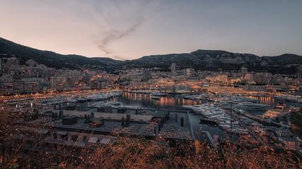 Sunset on the harbor of Monaco