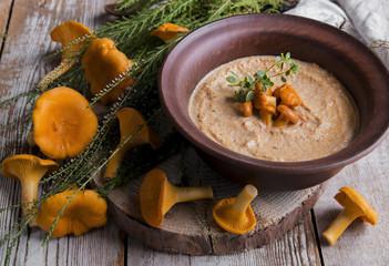 soup mushroom cream, chanterelle