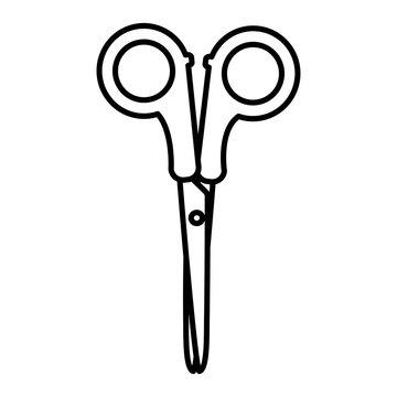 line artistic scissors school utensil design