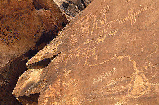 Atlatl Rock connects the past to the present with preserved Anasazi Native American petroglyphs in the Valley of Fire State Park, NV.
