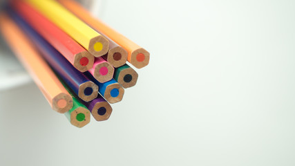 Wall Mural - Crayon colorful top view close up copy space