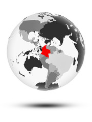 Colombia on political globe