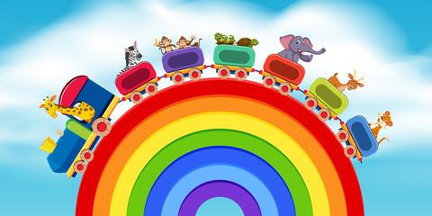 Animals on the train rainbow road