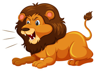 A lion on white background