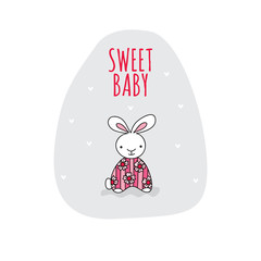 Cute rabbit with the words sweet baby vector illustration on a grey background shape.