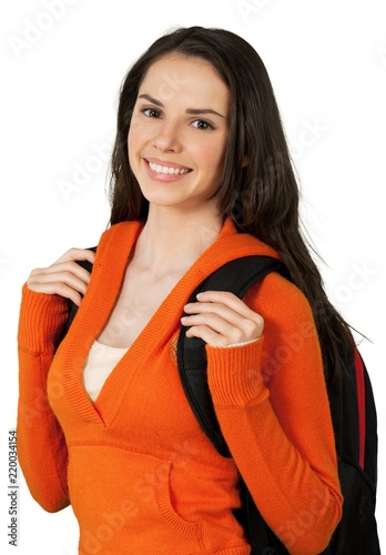 8bfd1777dc Friendly Young Girl Holding Backpack - Isolated