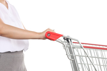 Woman push shopping cart isolated on white background