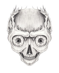 Art Surreal Skull Tattoo. Hand pencil drawing on paper.