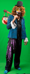 Clown standing. Isolated on green screen.