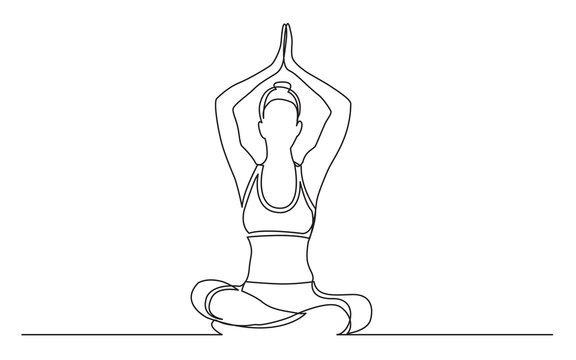 continuous line drawing of woman sitting in yoga pose with arms above head