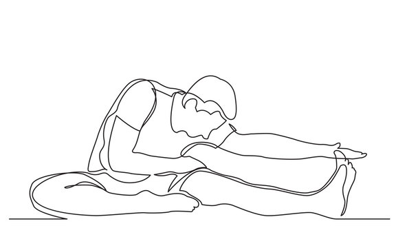 continuous line drawing of man stretching his leg in yoga exercise