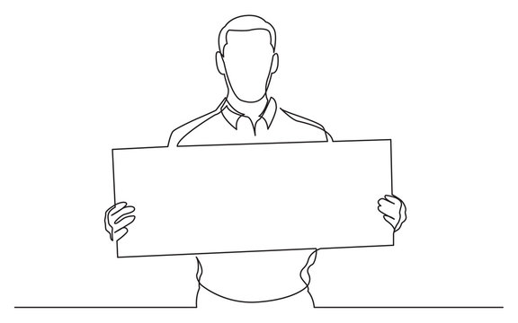 continuous line drawing of man holding blank banner