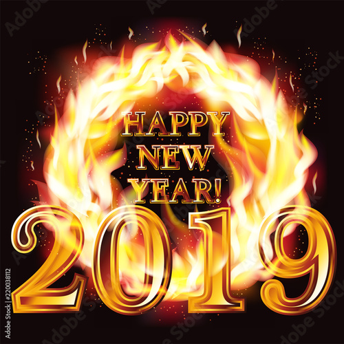 Attractive Happy New 2019 Year Fire Wallpaper, Vector Illustration