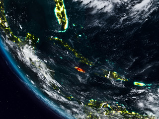 Jamaica at night from space