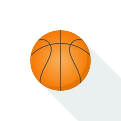 Basketball icon vector isolated on background with long shadow