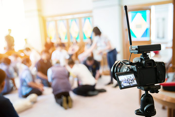 camera show viewfinder image catch motion in interview or broadcast wedding ceremony, catch feeling, stopped motion in best memorial day concept.Video Cinema From  camera.video cinema production .