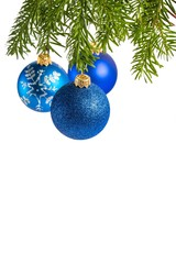 Blue Baubles Hanging on Pine Tree