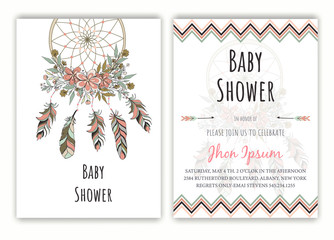 Baby Shower hand drawn native american dream catcher beads vector image.