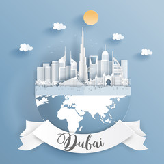 Fototapete - Paper cut style of world famous landmark of Dubai on the earth with label. Vector illustration.