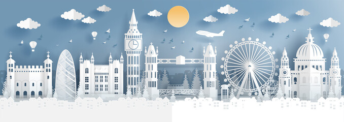Fototapete - Panorama of top world famous landmark of London, England for travel poster and postcard, in paper cut style vector illustration.