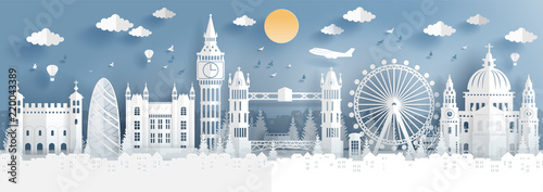 Fototapete Panorama of top world famous landmark of London, England for travel poster and postcard, in paper cut style vector illustration.