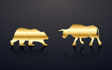 Abstract financial chart with golden bulls and bear in stock market on black background