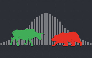 flat icon design of Abstract financial chart with bulls and bear in stock market background