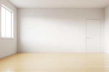 Empty spacious bright room with white walls, window, wooden floor and door. Concept of relocation. 3d rendering