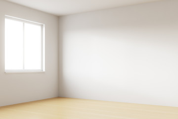 Empty bright room with white walls, one window and wooden floor. Concept of relocation. 3d rendering
