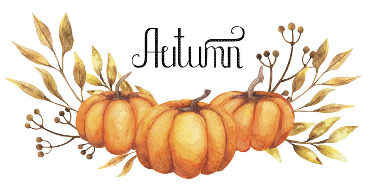 Watercolor background autumn design with pumpkin motley foliage celebration harvesting. Hand-drawn watercolor illustration.