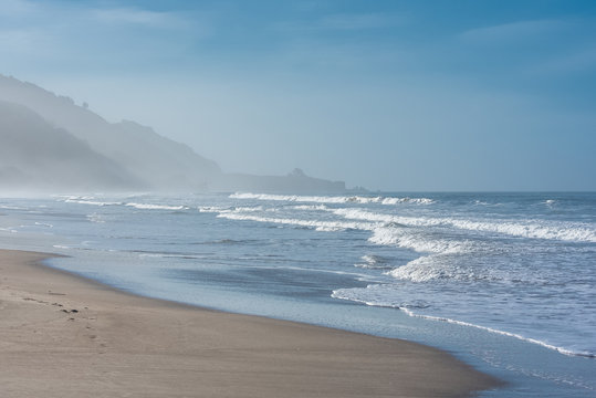 Beautiful beach in California, Stinson beach and Bolinas village on the Pacific coast