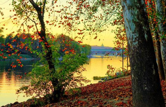 Kanawha River, Charleston WV in the fall. Shot in Daniel Boone Park.