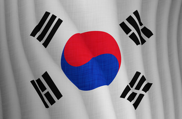 Illustration of a flying flag of a South Korea