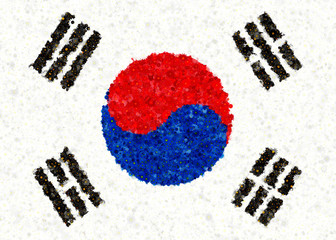 Korean Flag with blossom motives