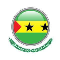 sao-tome-and-principe flag button. sao-tome-and-principe flag icon. Vector illustration of sao-tome-and-principe flag on white background.