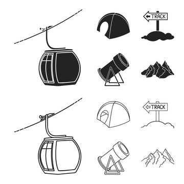 Funicular, tent, road sign, snow cannon. Ski resort set collection icons in black,outline style vector symbol stock illustration web.
