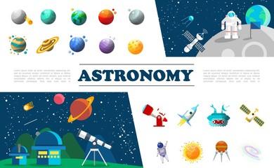 Flat Universe Elements Colorful Set