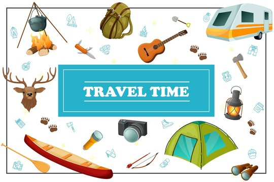 Cartoon Summer Travel Concept