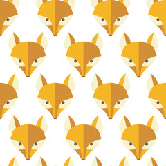 Paper foxes natural vector seamless pattern