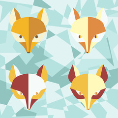 Four paper  foxes turquoise vector poster