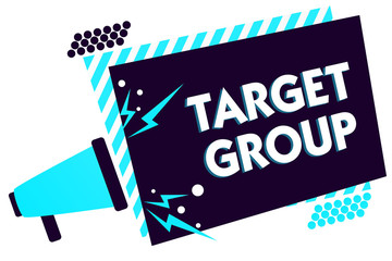 Handwriting text Target Group. Concept meaning Particular people that an advertisement intended to reach to Megaphone loudspeaker blue striped frame important message speaking loud