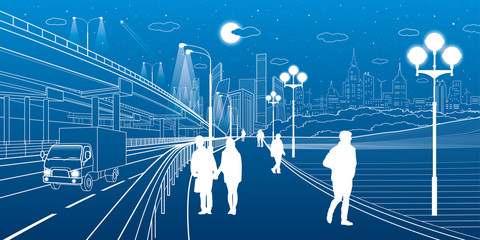 Urban scene. Car interchange. People walk along the sidewalk. Modern night city on background. Vector design art