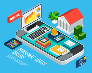 Mobile Loans Isometric Concept