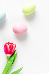 Easter concept on white background top view mockup