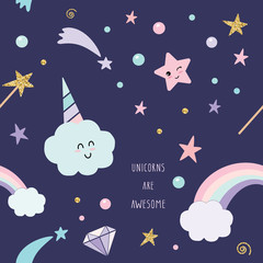 Unicorn magic seamless pattern background with rainbow, stars and diamonds.