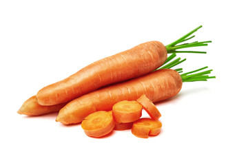 carrots on white background, carrots with a tops and leaves isolated. Nature carrot