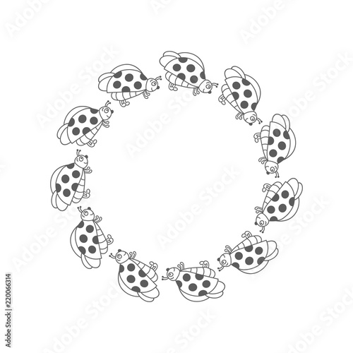 Ladybug outline frame. Vector. Isolated.\