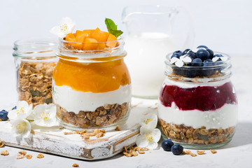 desserts with muesli, berry and fruit puree in jars on white table