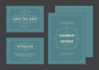 Set wedding invitations flourishes ornaments cards.